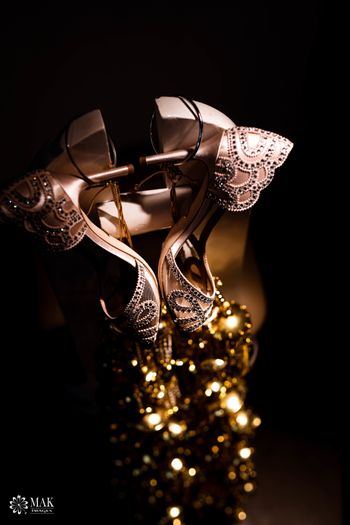 Embellished bridal shoes with interesting photography