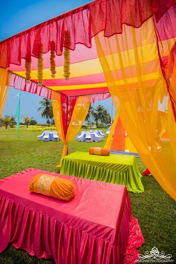 Colorful tent decor at mehndi function