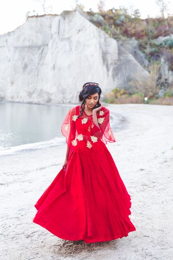 Photo of Red Gown with Floral Cape