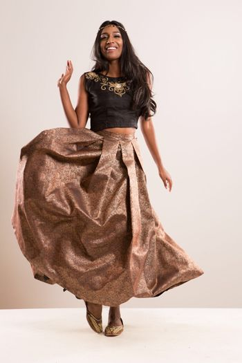 Black Crop Top with Gold Tanchoi Silk Skirt