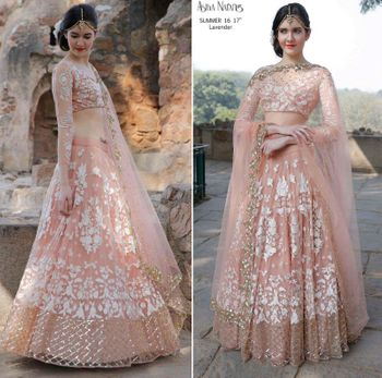 Photo of Peach and white lehenga by Astha Narang