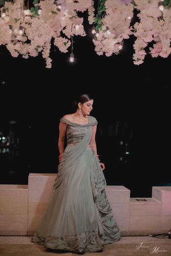 Bride in a green grey gown