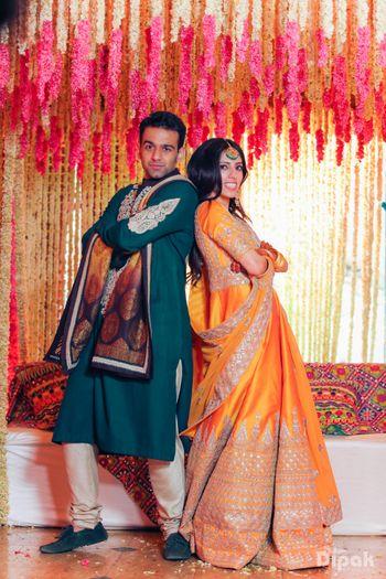 Bride and Groom on Mehendi function
