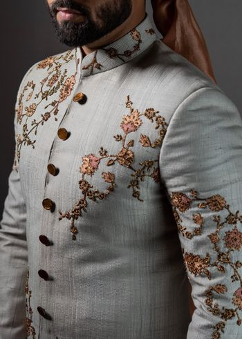 Silver grey sherwani with embroidery
