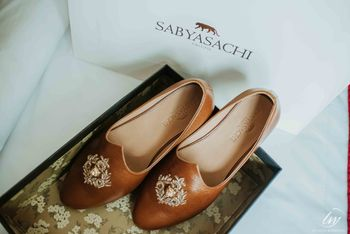 Brown leather sabyasachi shoes for groom