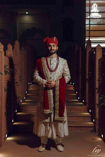 Ivory sherwani with matching safa and stole
