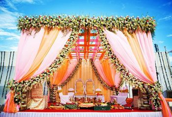 Breathtaking mandap decor for a day wedding.