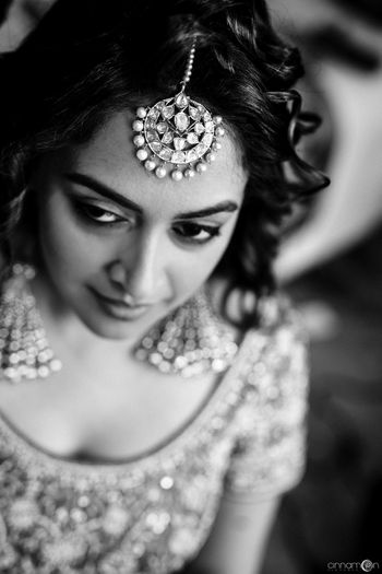Bridal black and white close up shot with pretty jewellery