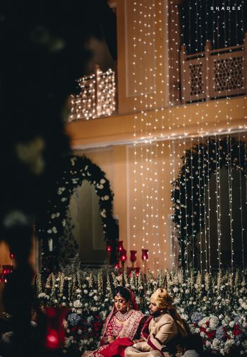 Photo of Open courtyard mandap idea with fairy lights