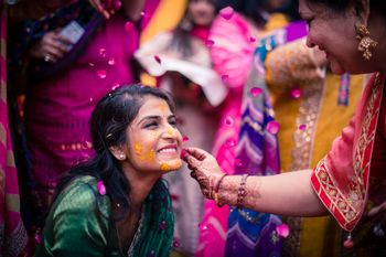 A fun haldi bridal portrait!