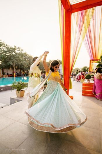 Photo of Yellow and mint blue anarkali