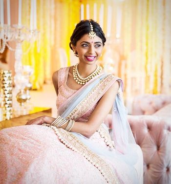 Girly pastel lehenga in blush pink and blue