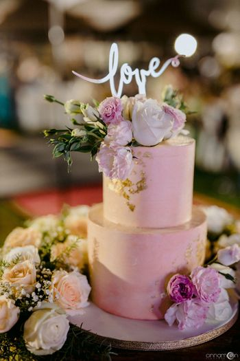 Floral cake decor with a topper!