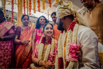 A south indian couple at their wedding ceremony