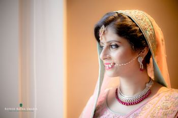 Pastel pink and Pastel Green Bride Portraits