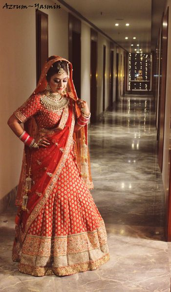Orange Lehenga with Gold Border