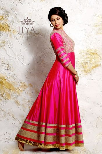 Hot pink Floor Length Anarkali with Gold Border