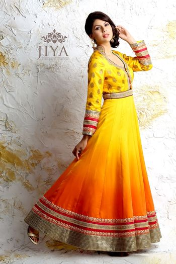 Yellow and Orange Ombre Anarkali