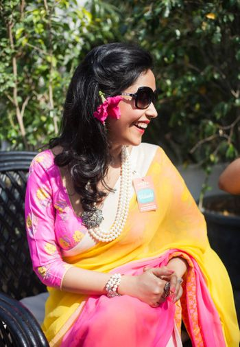Photo of ombre saree mango yellow and pink with printed blouse and pearls