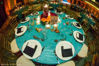 Photo of turquoise table cloths