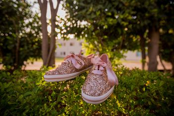 Light pink sparkly sneakers for bride