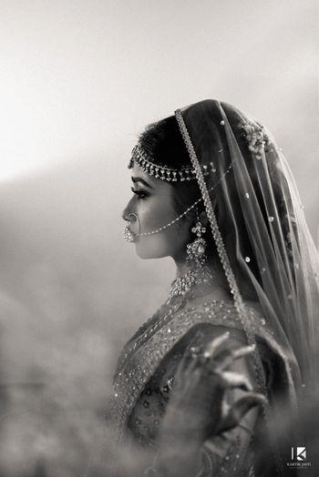 Black and white side bridal shot