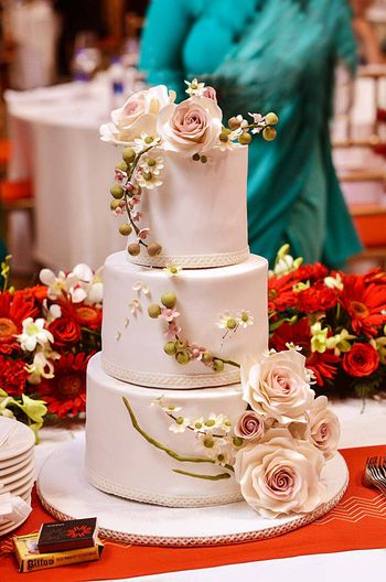 3 Layer Wedding Cake with Floral Decor