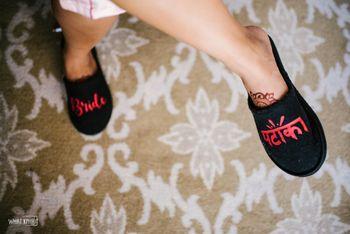 Customised bridal slippers in black