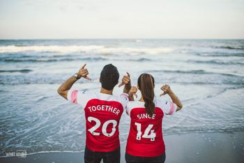 Cute pre wedding shoot idea with customised tshirt