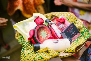 Wedding or mehendi favour hamper with cosmetics