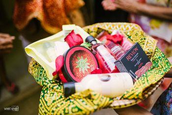 Wedding or mehendi favour hamper with cosmetics