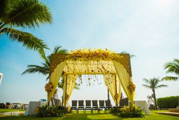 Daytime mandap in yellow colour with drapes