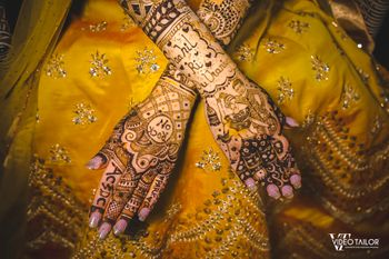 Unique bridal mehendi design dedicated to the groom