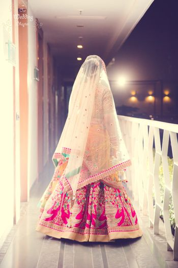 Bright Pink bridal lehenga by Anju Modi