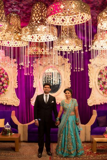 Photo of Unique wedding decor with chandeliers at Indian wedidng
