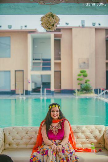 Mehendi function of bride poolside