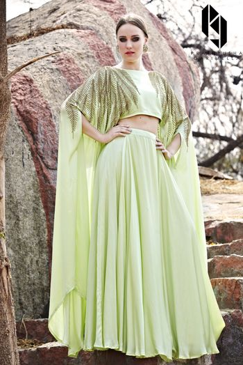 Photo of Pastel Green Leaf Motifs Cape Top with Skirt