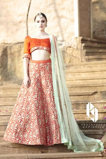 Orange and Silver Sequins Lehenga with Mint Dupatta