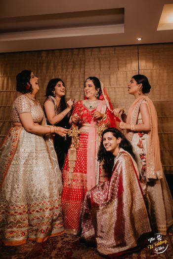The true happiness of the bride is when she is around her girls at her wedding.