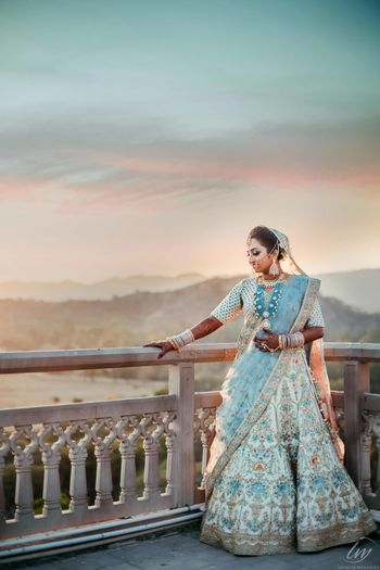 Ivory and light blue lehenga for summer bride