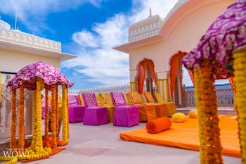 A pop of color mehndi seating idea