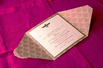 Pink and bronze wedding cards with flap