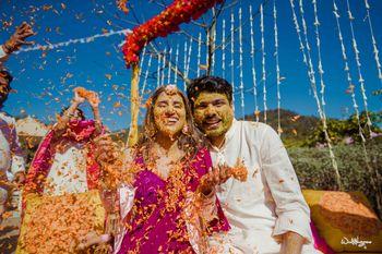fun haldi couple portrait