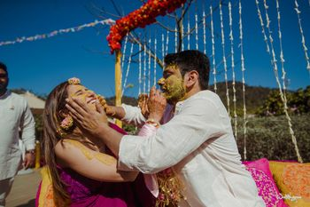 Photo of cute couple shot on haldi