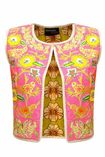 pink and gold gota work blouse