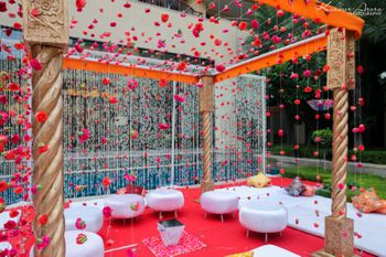 Gold Mandap with Red Floral Decor