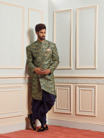 A complete engagement look in a stunning sherwani.