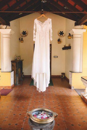 Wedding Gown on a Hanger Shot