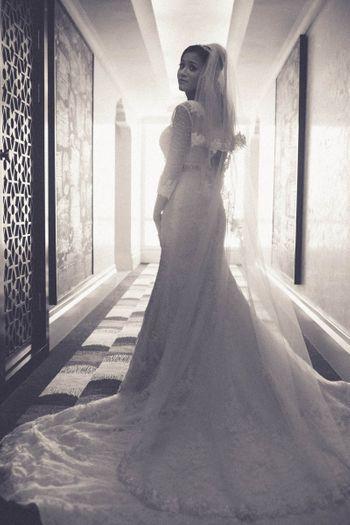 Black and White Christian Bride Portrait