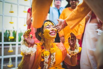 Happy bride on haldi